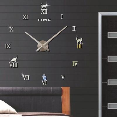 DIY 로마숫자 고양이 붙이는 벽시계(실버)