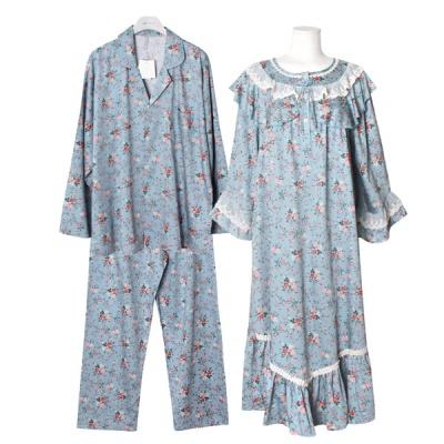 [쿠비카]|플라워 광택 모달 원피스 커플잠옷 WM290
