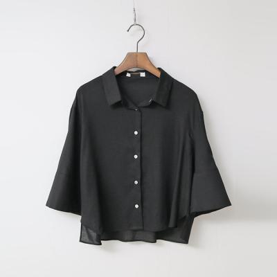 Linen Flare Crop Shirts