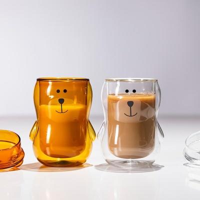 홈카페 귀여운 밀크글라스 곰돌이컵 이중유리 유리컵