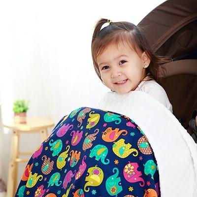 [아이렌즈블랭킷] 아기유모차담요 / 낮잠이불 / 라지사이즈 - 귀여운 코끼리 무늬