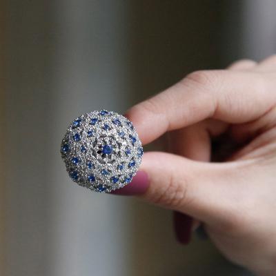바이데이지 SR021 블루 큐빅 플라워 반지