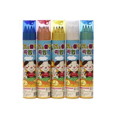 (와인앤쿡)12색 원통 색연필 세트(대)1개