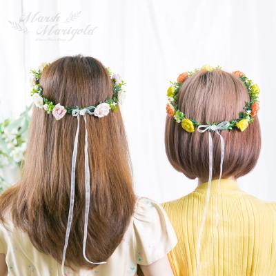 [마쉬매리골드]미니 장미 웨딩화관 [3컬러]