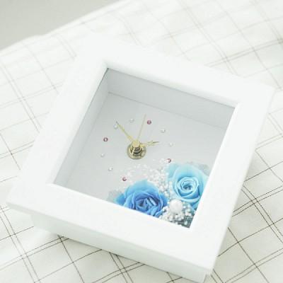 [시들지 않는 영원함 프리저브드 플라워] 화이트 미니 블루 시계