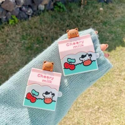 에어팟 1 2세대 프로 체리우유 곰돌이 실리콘 케이스