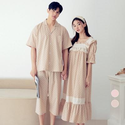 [쿠비카]이중 스퀘어 넥 원피스 커플잠옷 WM329