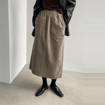 Corduroy Pocket Long Skirt
