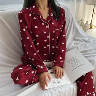 2color 하트 실크 데일리 파자마 잠옷