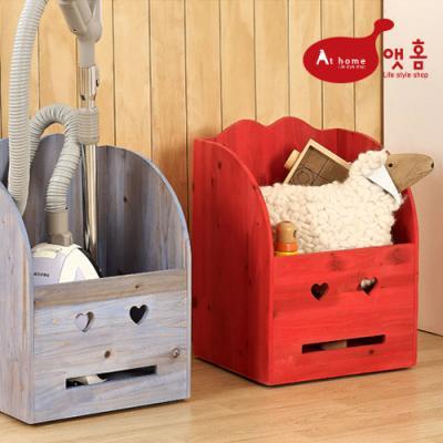 앳홈 스마일 원목 중형 이동식 정리함 /청소기 보관함