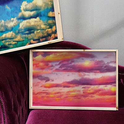 pf787-우드프레임액자_몽글몽글한구름그림