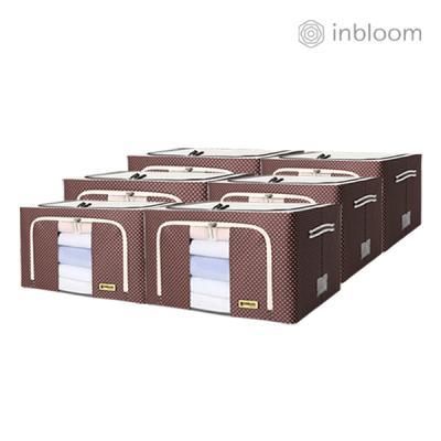 인블룸 6개세트 도트 리빙박스 66L 브라운