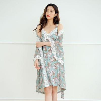 [쿠비카]A라인 슬립 앙상블 세트 여성잠옷 W559