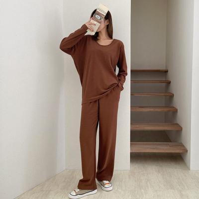 [Set] Terry U-Neck Tee + Wide Pants - 긴팔