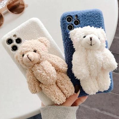 아이폰11 PRO SE2 XS 8 곰돌이 인형 털 휴대폰 케이스