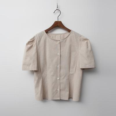 Linen Cotton Puff Peplum Blouse
