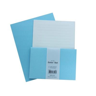 [편지지세트] 컬러편지지 라인 블루 (편지지+봉투세트)