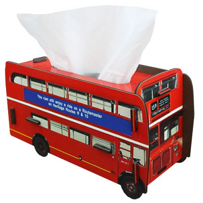 Tissue case double decker bus