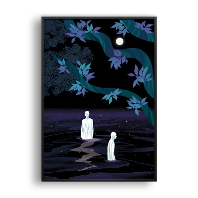밤의 숲속에서 / 일러스트 액자