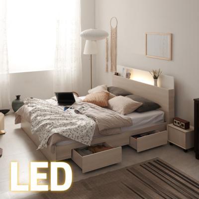홈쇼핑 LED/서랍 침대 Q (양면스프링매트) KC198