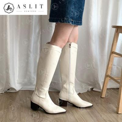 [애슬릿]여성 청키 힐 웨스턴 롱 부츠 5.5cm