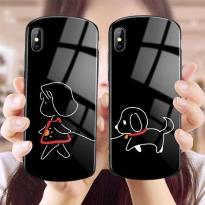 아이폰x/xsmax/맥스/xr 강아지 캐릭터 강화유리케이스