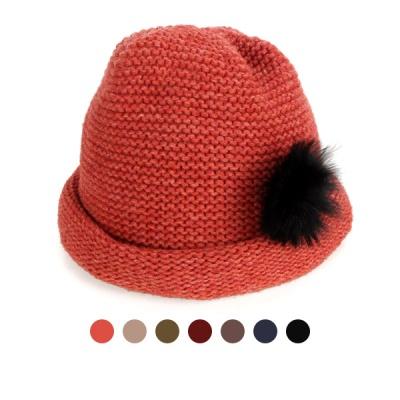 [디꾸보]인조털 장식 말림 울 비니 모자 AC470