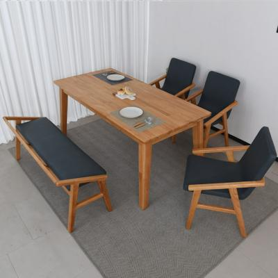 N4109 6인 원목 식탁 세트(등벤치형) 2colors