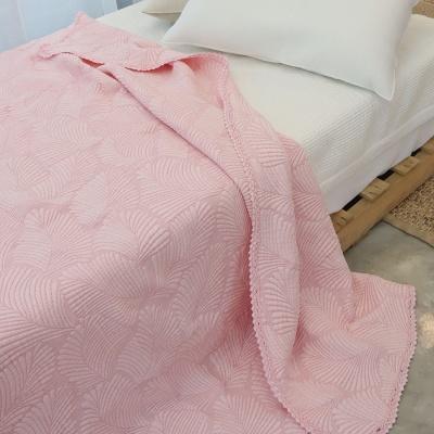 레이스누빔 풍기인견 삼중직 여름이불 겸 패드 - 핑크