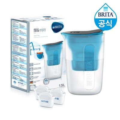 필터형 정수기 브리타 펀 1.5L 블루+필터3개월분(기본구성 필터포함)