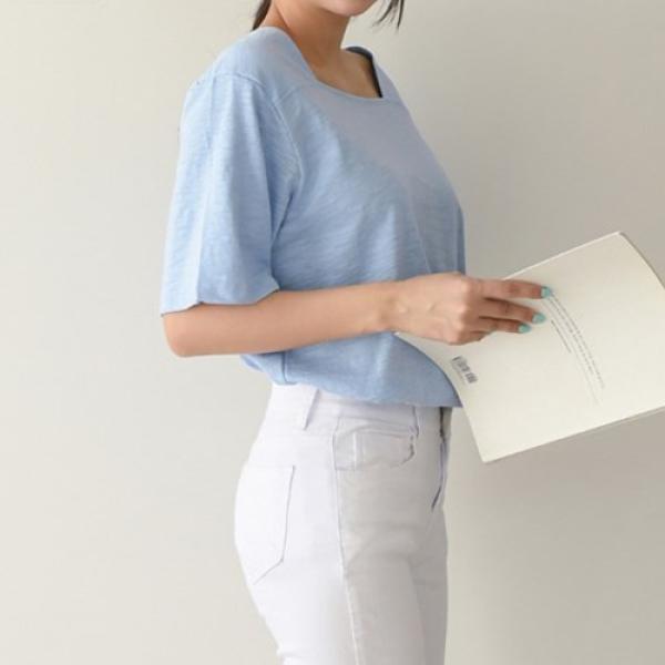 [애슬릿]국내 생산 면 스퀘어넥 루즈핏 반팔 티셔츠