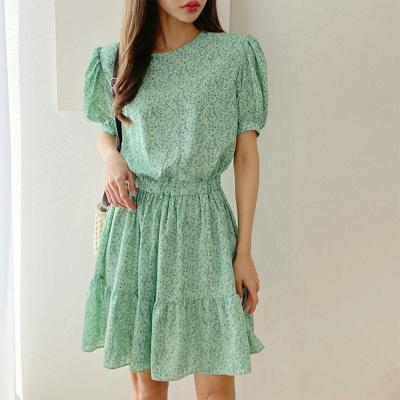 Green Puff Mini Dress