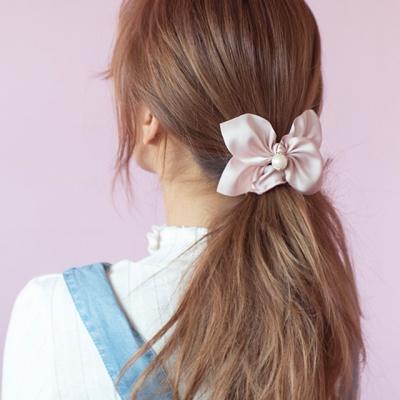 진주 리본 곱창 머리끈