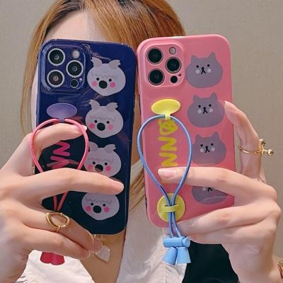 아이폰 12 11 미니 pro max 곰돌이 핑거스트랩 케이스
