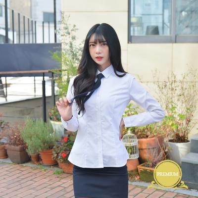 [빅사이즈] 여성 각카라 화이트 셔츠 (파랑체크) ~4XL