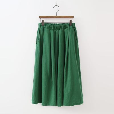 Linen Cotton Banding Wide Pants - 치마바지