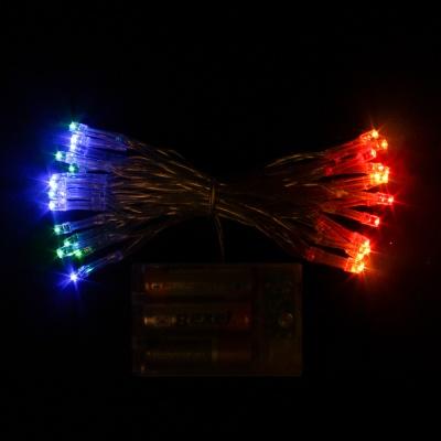 30구 투명선 피켓 LED 칼라전구(3M) (배터리) (점멸有