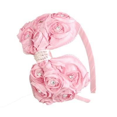 [헤어보우]Cubic Love rose 헤어밴드-Pink