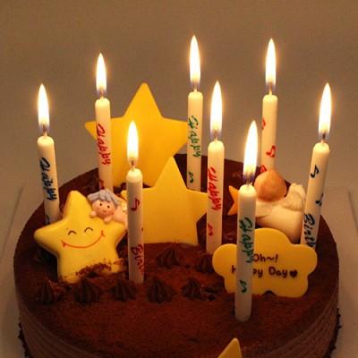 생일막대초-화이트