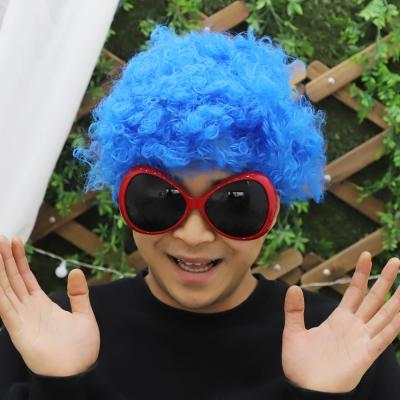 뽀글이 삐에로 가발 (블루)