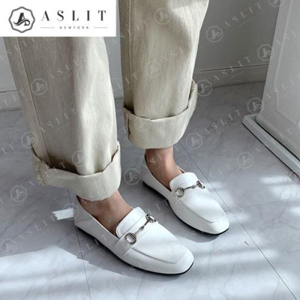 [애슬릿]천연 소가죽 여성 체인 스트랩 뮬 플랫 로퍼