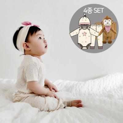 [CONY]오가닉백일여아선물4종세트(의류3종+아기원숭이인형)