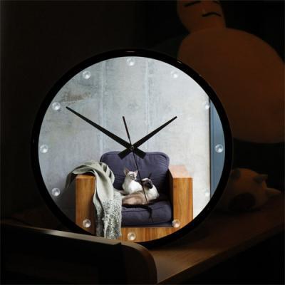 nf376-LED시계액자35R_고양이의한가로운오후