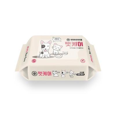 펫케어 반려동물  피톤치드향 휴대용 물티슈 20매 1팩
