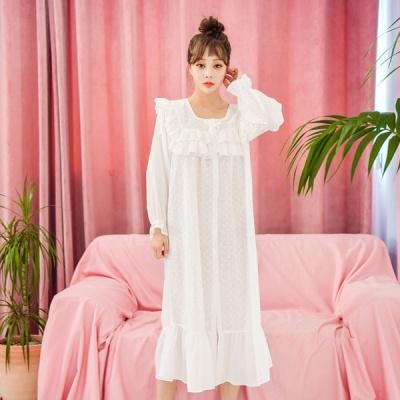 [쿠비카]플라워 자수 아사면 원피스 여성잠옷 W513