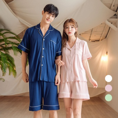 [쿠비카]파이핑 포인트 파자마 투피스 커플잠옷 WM250