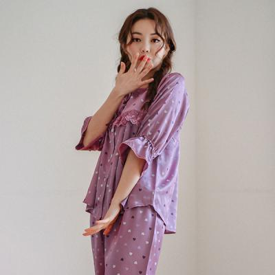 [쿠비카]러블리 하트 샤무즈 투피스 여성잠옷 WM160