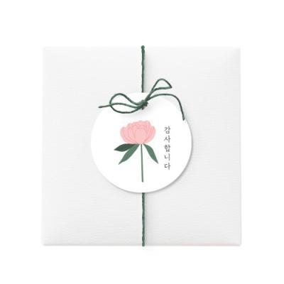 원형 땡큐 분홍꽃 텍 (10개)