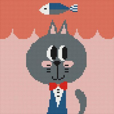 멋쟁이 고양이 제이크 (캔버스형) 보석십자수 25x25