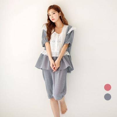 [쿠비카]볼륨 퍼프소매 체크 투피스 여성잠옷 W575